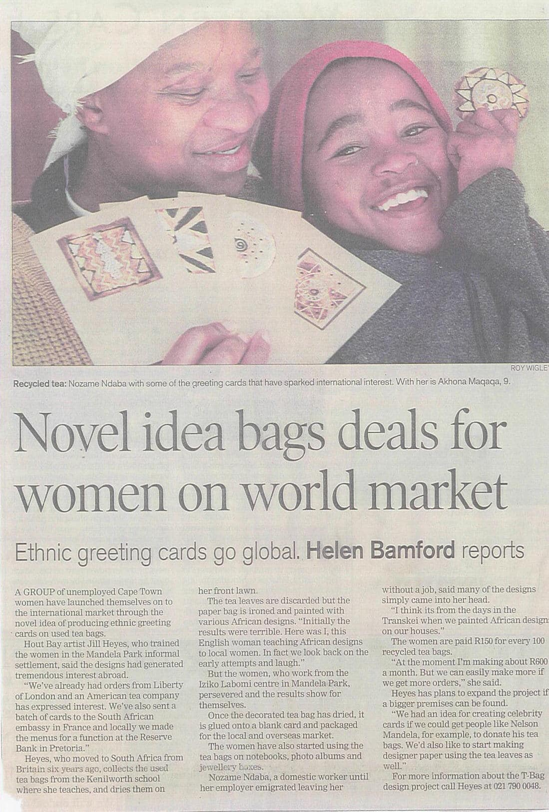 T Bag in the Cape Times